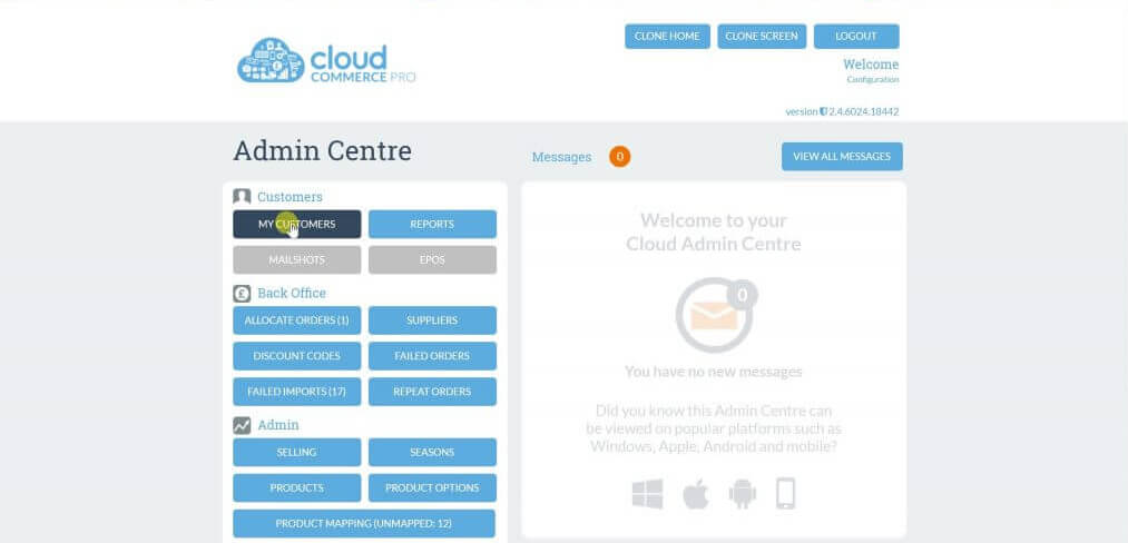cloud commerce dashboard