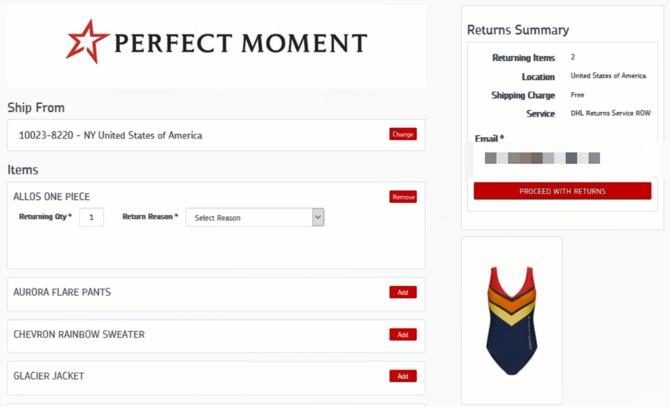 Screenshot illustrating the end of the Returns request